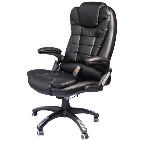 HomCom Executive Ergonomic Heated Vibrating Massage Office Chair w/ Remote Control - Black