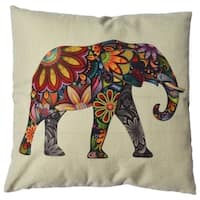 Vintage Home Decor Cotton Linen Elephant Throw Pillow Cover