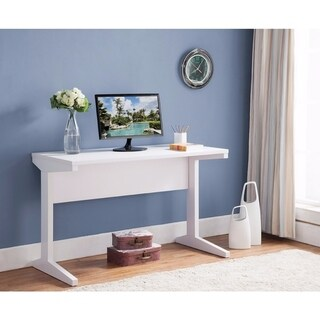 Contemporary Style Desk With Width Top, White