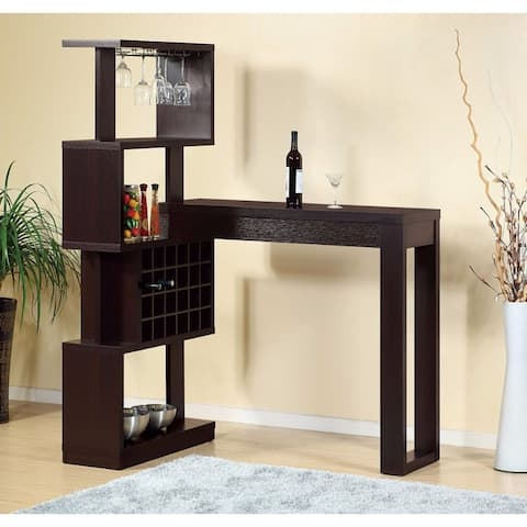 Well- Designed Bar Table With Wall Unit With Wine Racks, Brown