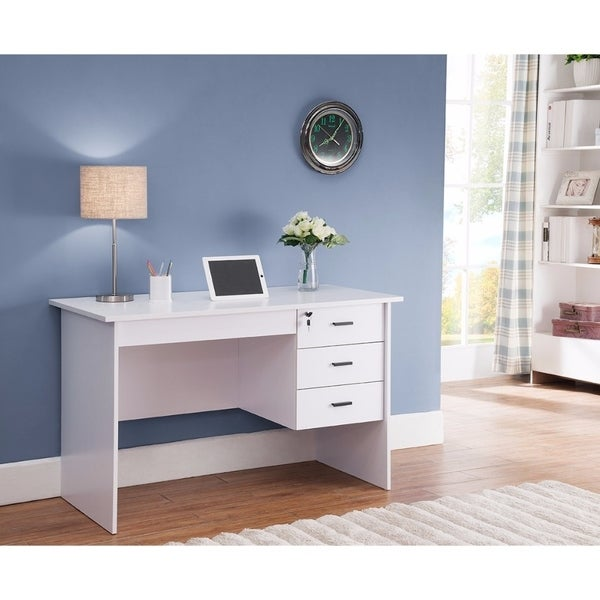 Modern Office Desk With Three Locking Drawers White