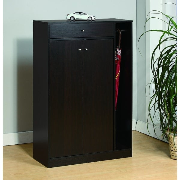 Shoe Cabinet With Adjustable Shelves and Umbrella Rod, Brown