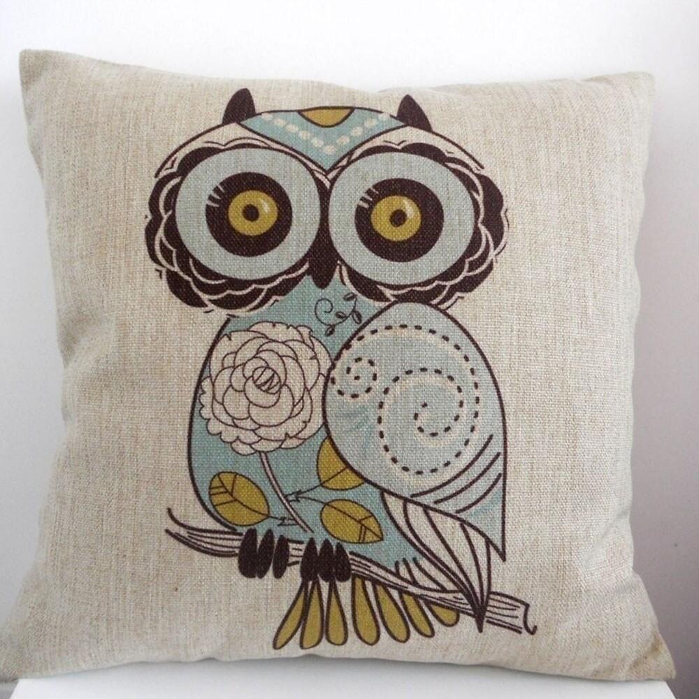 Owl Cotton Linen Throw Pillow Cover 18 Inch - Blue/Gold/Natural