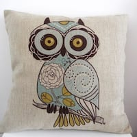 Vintage Home Decor Cotton Linen Throw Pillow Cover  Owl