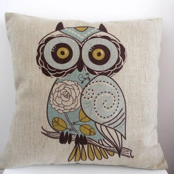 Shop Owl Cotton Linen Throw Pillow Cover 18 Inch Blue Gold Natural