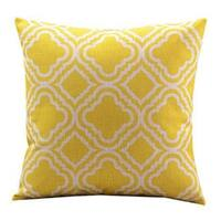 Vintage Home Decor Cotton Linen  Yellow Pattern Throw Pillow Cover