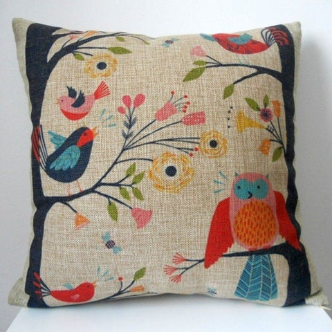 Vintage Home Decor Cotton Linen Throw Pillow Cover Flower Birds