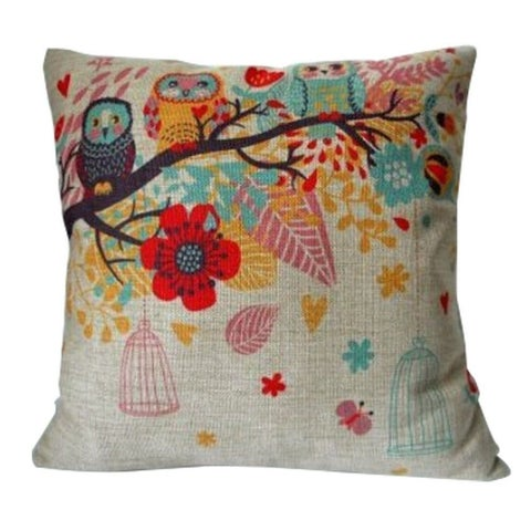 Vintage Home Decor Cotton Linen Throw Pillow Cover Flower Owl
