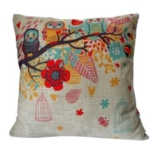 Vintage Home Decor Cotton Linen Throw Pillow Cover  Flower Owl