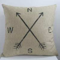 Vintage Home Decor Arrow Compass 18 Inch Decorative Throw Pillow Cover