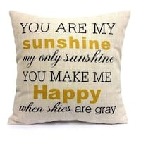 Vintage Home Decor Cotton Linen Throw Pillow Cover  You Are My Sunshine - Yellow/White/Natural