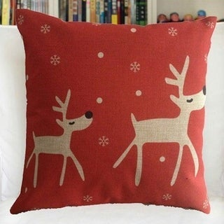 Vintage Home Decor Cotton Linen Throw Pillow Cover  Animal Reindeer