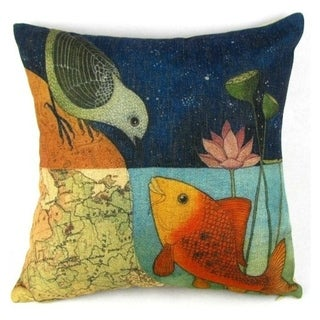 Vintage Home Decor Cotton Linen Throw Pillow Cover Bird And Fish - Blue/Orange