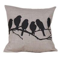Multiple Birds Cotton Linen Pillow Cover 18 Inch - Tan/Black