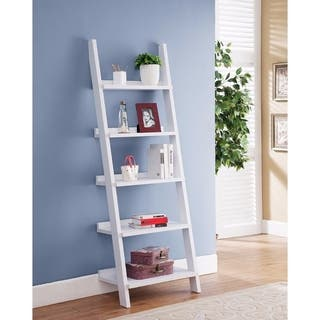 Ladder Bookcase, White|https://ak1.ostkcdn.com/images/products/18088559/P24247520.jpg?impolicy=medium