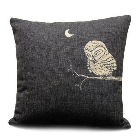 Vintage Home Decor Cotton Linen Throw Pillow Cover Animal Owl