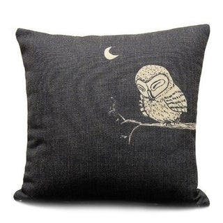 Vintage Home Decor Cotton Linen Throw Pillow Cover Animal Owl