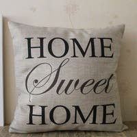 Vintage Home Decor Cotton Linen Throw Pillow Cover Home Sweet Home - Black/Tan