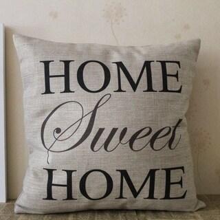 Vintage Home Decor Cotton Linen Throw Pillow Cover Home Sweet Home - Black/Tan