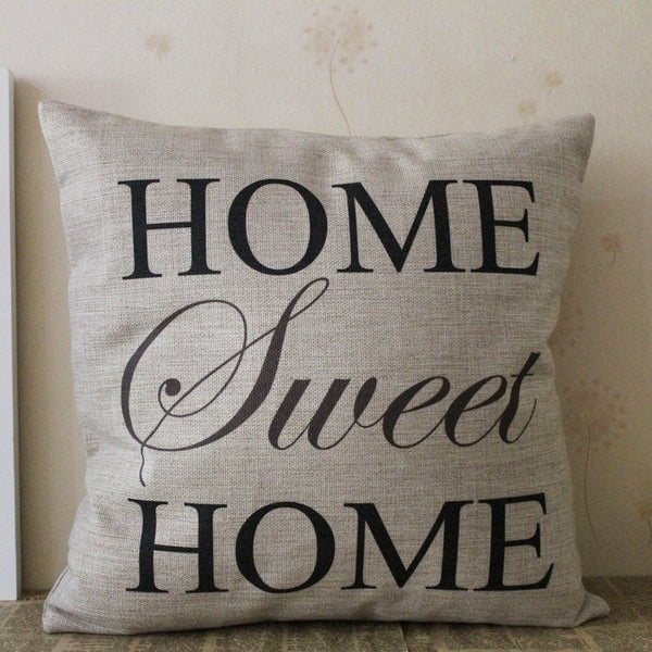 Shop Vintage Home Decor Cotton Linen Throw Pillow Cover Home Sweet Inspiration Home Sweet Home Decorative Accessories