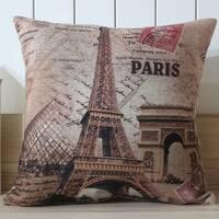 Vintage Home Decor Cotton Linen Throw Pillow Cover Paris