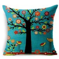 Vintage Home Decor Cotton Linen Throw Pillow Cover Flower Tree Birds - Black/Blue/Red