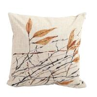 Vintage Home Decor Cotton Linen Throw Pillow Cover Painting Leaves - Tan/Brown
