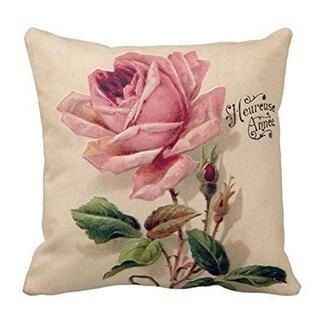 Vintage Home Decor Cotton Linen Throw Pillow Cover Rose