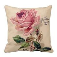 Vintage Home Decor Cotton Linen Throw Pillow Cover Rose - Tan