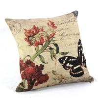 Vintage Home Decor Cotton Linen Throw Pillow Cover Rose Butterfly