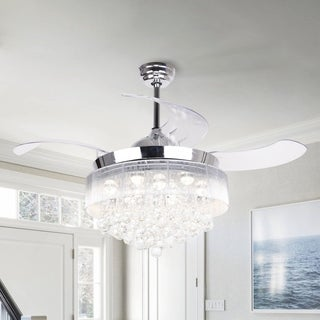 42-inch LED Chandelier Chrome Ceiling Fan with Warm 2700K Light and Remote Fandelier Retractable Blades