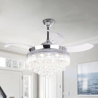 Warm 2700K Light 42-inch Retractable Blades LED Crystal Ceiling Fan