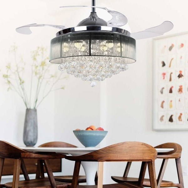 Warm 2700K Light 42 Inch Retractable Blades LED Crystal Ceiling Fan