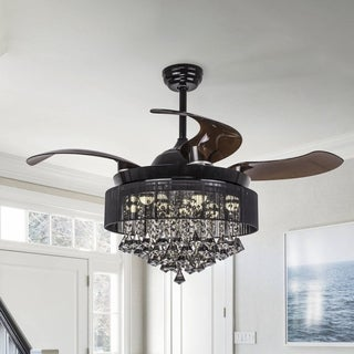 Foldable Blades 42-inch Black LED Ceiling Fan with Crystal Chandelier Light Kit