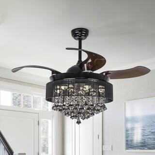 "Foldable Blades 42"" Ceiling Fan With Crystal Chandelier Light Kit,Black