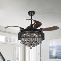 Foldable Blades 42-inch Black Crystal LED Ceiling Fan Light Kit