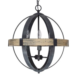 Castello Black Wrought Iron/Wood 4-light Chandelier