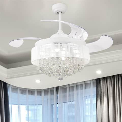 46-inch Foldable 4 Blades LED Ceiling Fan Crystal Chandelier