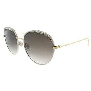 Jimmy Choo Oval JC ELLO ONR Women White Gold Frame Brown Gradient Lens Sunglasses