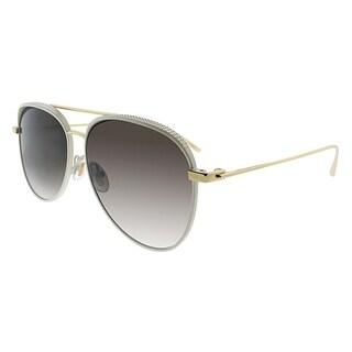 Jimmy Choo Aviator JC RETO ONR Women Shiny White Frame Brown Gradient Lens Sunglasses