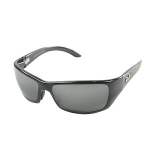 Maui Jim Unisex Canoes 208 02 Gloss Black Frame Neutral Grey Polarized Lens Wrap Sunglasses