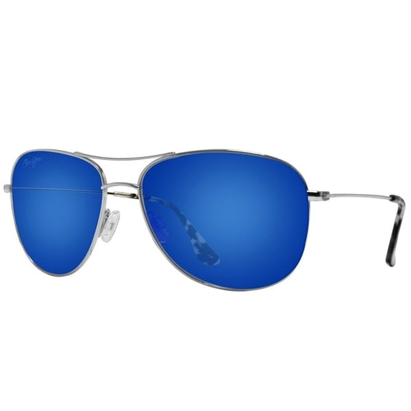 0a02230661d Maui Jim Unisex Cliff House B247 17 Silver Frame Blue Hawaii Mirror  Polarized Lens Aviator Sunglasses