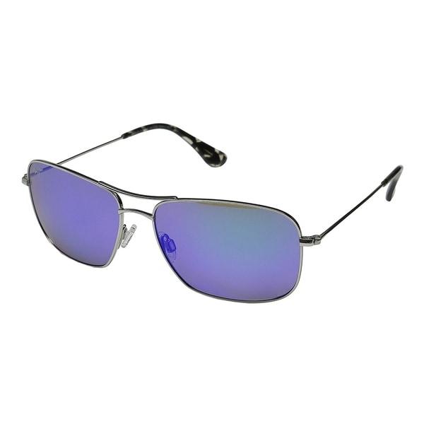 2ee2cf1b8dbc Maui Jim Unisex Wiki Wiki B246 17 Silver Frame Blue Hawaii Mirror Polarized  Lens Aviator Sunglasses