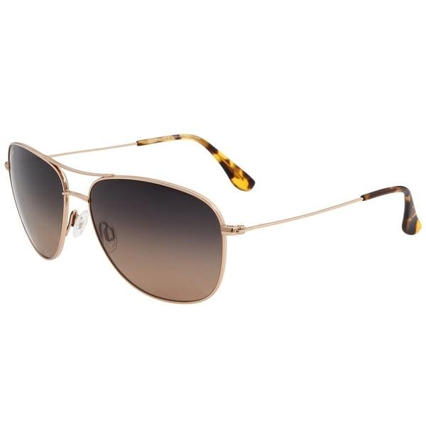 dc05db187fc52 Maui Jim Unisex Cliff House HS247 16 Gold Frame HCL Bronze Gradient Polarized  Lens Aviator Sunglasses