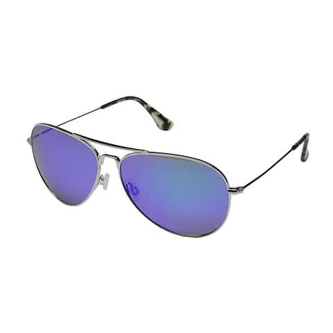 c1ac13f4c954 Maui Jim Unisex Mavericks B264 17 Silver Frame Blue Hawaii Mirror Polarized  Lens Aviator Sunglasses