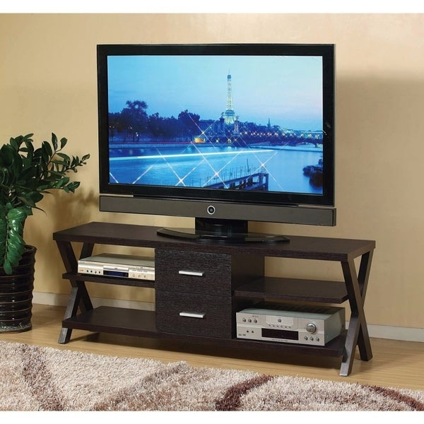 TV Stand With Metal Glide Drawers and Cross Base, Brown