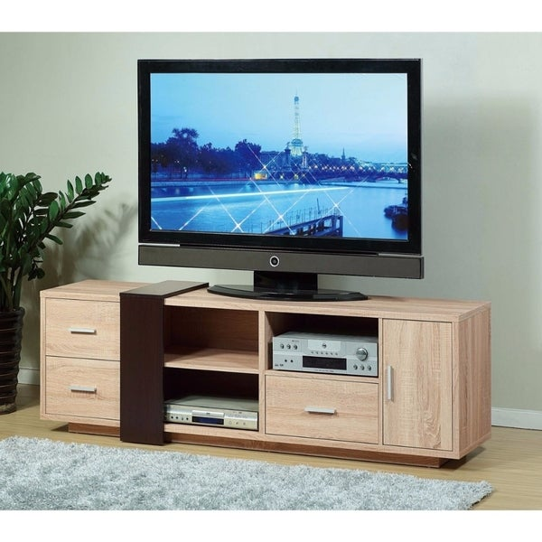 Shop Splendid Tv Stand With Decorative Panel Brown Free Shipping