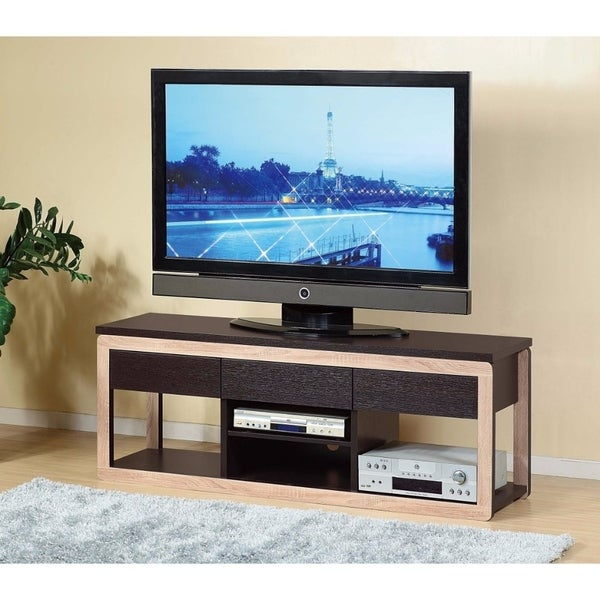 Spacious TV Stand With Open Drawers, Brown