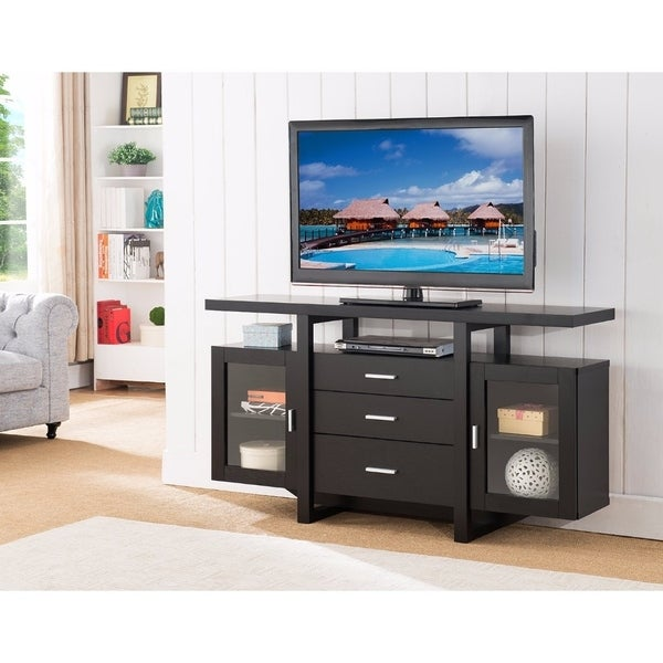Shop Striking Spacious Modern TV Stand / Buffet, Black   Free Shipping  Today   Overstock   18088704