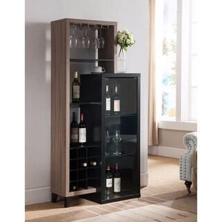 Uniquely Designed Wine Cabinet, Black and Brown